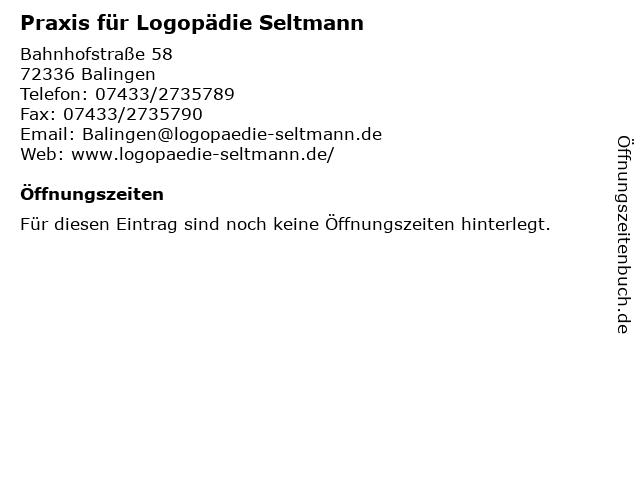 Praxis für Logopädie Seltmann in Balingen: Adresse und Öffnungszeiten