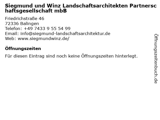 Siegmund und Winz Landschaftsarchitekten Partnerschaftsgesellschaft mbB in Balingen: Adresse und Öffnungszeiten
