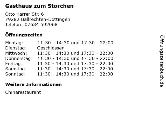 Gasthaus zum Storchen in Ballrechten-Dottingen: Adresse und Öffnungszeiten