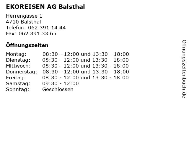 EKOREISEN AG Balsthal in Balsthal: Adresse und Öffnungszeiten