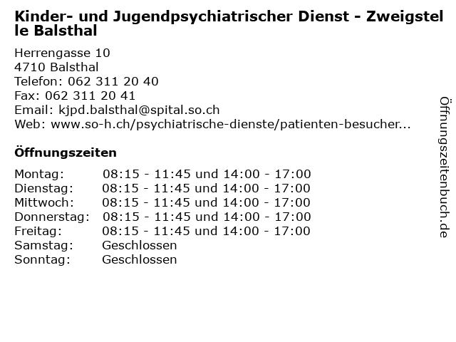 Kinder- und Jugendpsychiatrischer Dienst - Zweigstelle Balsthal in Balsthal: Adresse und Öffnungszeiten