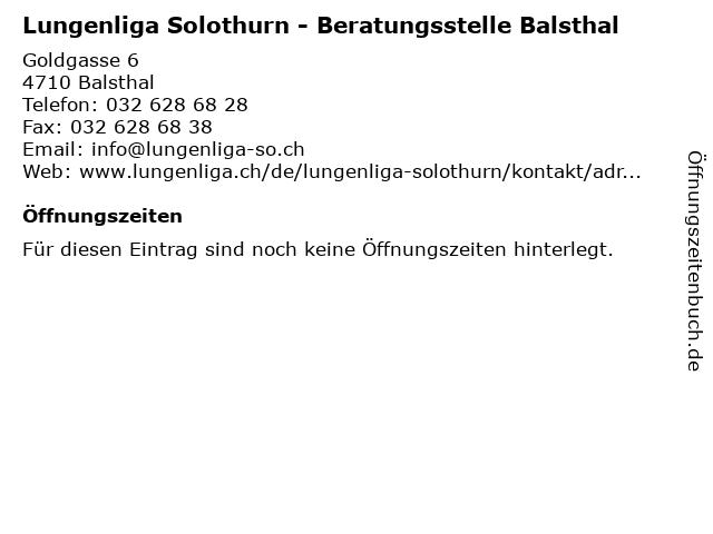 Lungenliga Solothurn - Beratungsstelle Balsthal in Balsthal: Adresse und Öffnungszeiten
