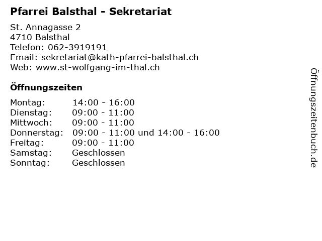 Pfarrei Balsthal - Sekretariat in Balsthal: Adresse und Öffnungszeiten