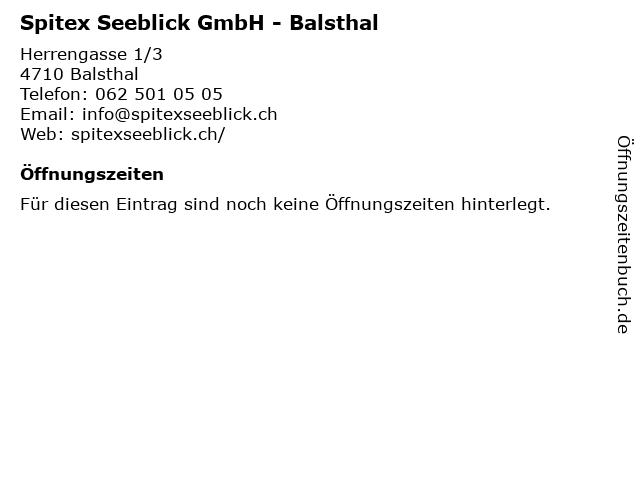 Spitex Seeblick GmbH - Balsthal in Balsthal: Adresse und Öffnungszeiten