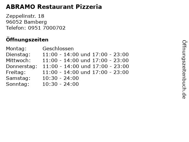 ABRAMO Restaurant Pizzeria in Bamberg: Adresse und Öffnungszeiten
