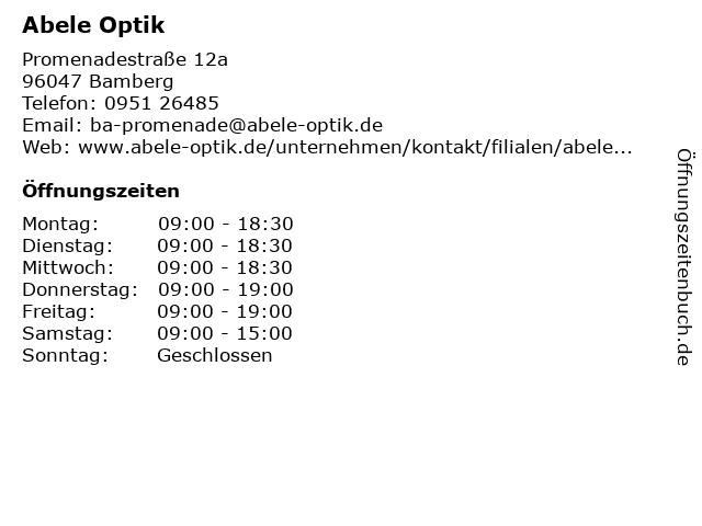 Abele Optik in Bamberg: Adresse und Öffnungszeiten