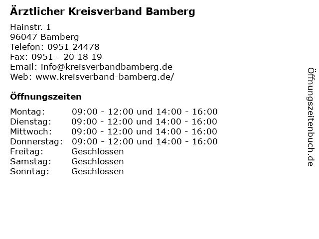 Ärztlicher Kreisverband Bamberg in Bamberg: Adresse und Öffnungszeiten