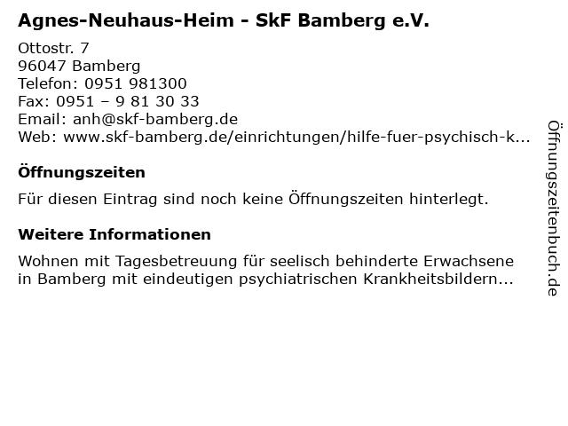 Agnes-Neuhaus-Heim - SkF Bamberg e.V. in Bamberg: Adresse und Öffnungszeiten