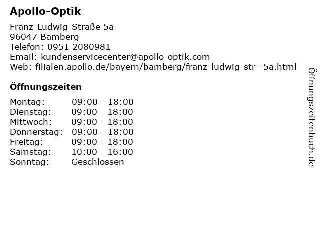 Apollo-Optik in Bamberg: Adresse und Öffnungszeiten