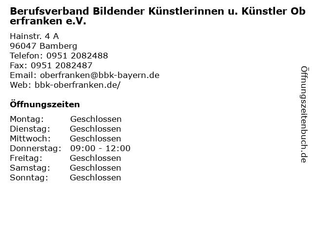 Berufsverband Bildender Künstlerinnen u. Künstler Oberfranken e.V. in Bamberg: Adresse und Öffnungszeiten