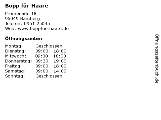Bopp für Haare in Bamberg: Adresse und Öffnungszeiten