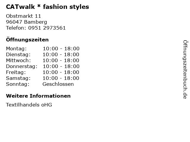 CATwalk * fashion styles in Bamberg: Adresse und Öffnungszeiten