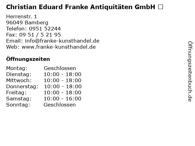 ᐅ Offnungszeiten Christian Eduard Franke Antiquitaten Gmbh