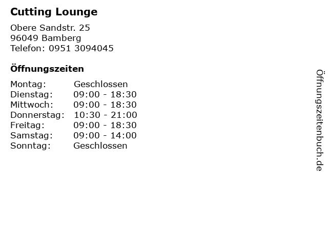 Cutting Lounge in Bamberg: Adresse und Öffnungszeiten