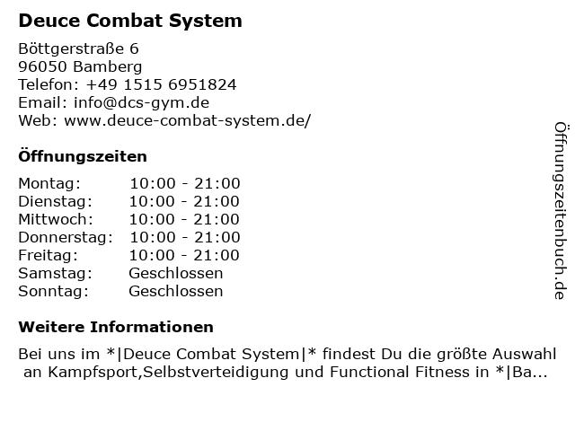 Deuce Combat System in Bamberg: Adresse und Öffnungszeiten