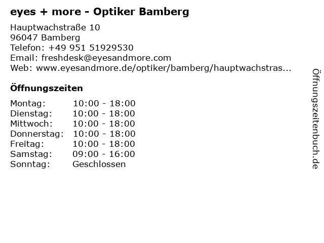 Eyes + more Optikgeschäft in Bamberg: Adresse und Öffnungszeiten