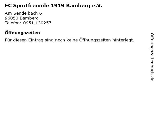 FC Sportfreunde 1919 Bamberg e.V. in Bamberg: Adresse und Öffnungszeiten