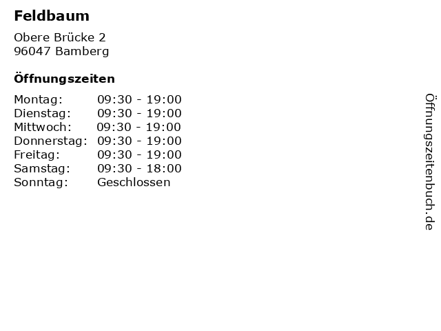 Feldbaum in Bamberg: Adresse und Öffnungszeiten