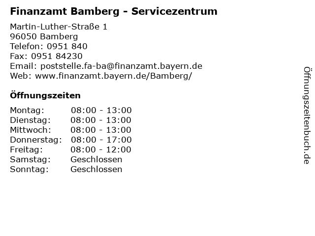 Finanzamt Bamberg - Servicezentrum in Bamberg: Adresse und Öffnungszeiten