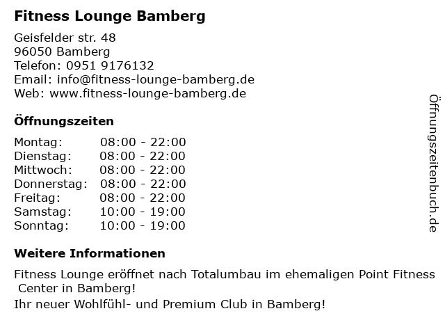 Point Fitness Center in Bamberg: Adresse und Öffnungszeiten
