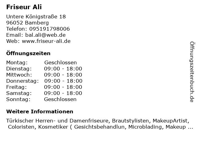 Friseur Ali in Bamberg: Adresse und Öffnungszeiten