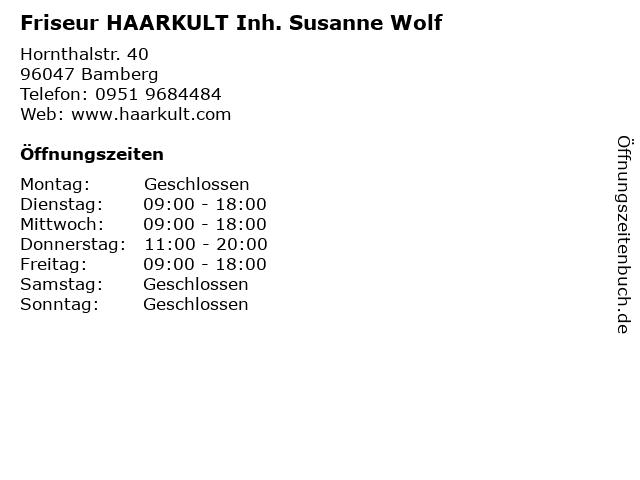 Friseur HAARKULT Inh. Susanne Wolf in Bamberg: Adresse und Öffnungszeiten