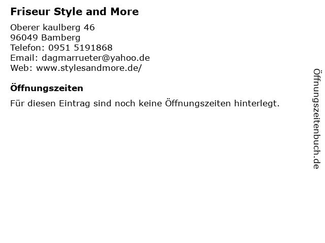 Friseur Style and More in Bamberg: Adresse und Öffnungszeiten