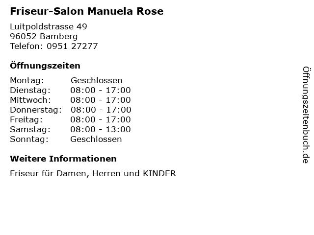 Friseur-Salon Manuela Rose in Bamberg: Adresse und Öffnungszeiten