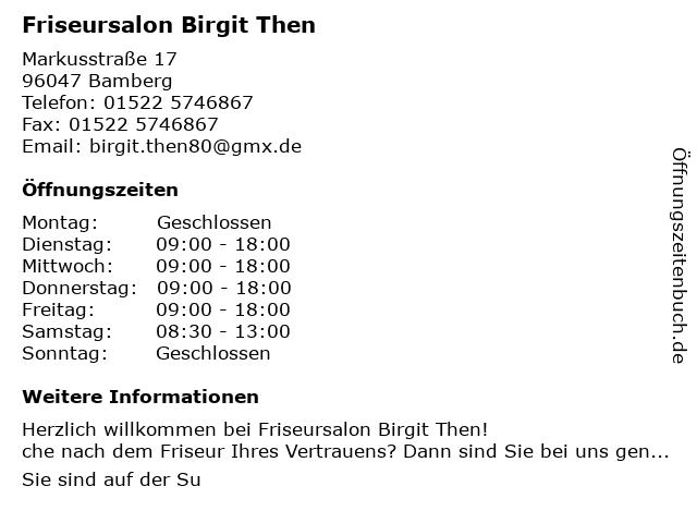 Friseursalon Birgit Then in Bamberg: Adresse und Öffnungszeiten