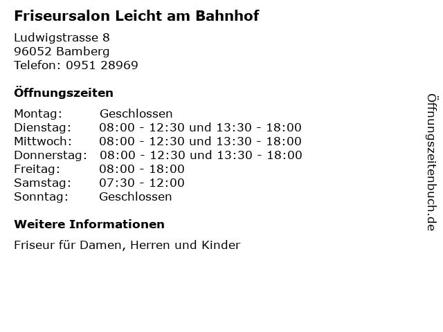 Friseursalon Leicht am Bahnhof in Bamberg: Adresse und Öffnungszeiten