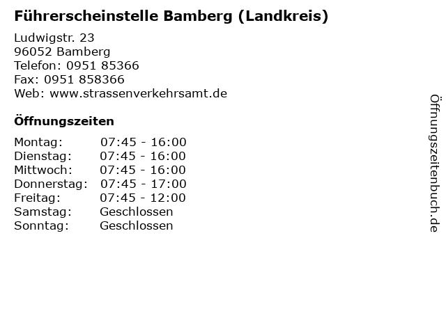 Führerscheinstelle Bamberg (Landkreis) in Bamberg: Adresse und Öffnungszeiten