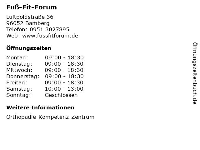 ᐅ öffnungszeiten Fuß Fit Forum Luitpoldstraße 36 In Bamberg