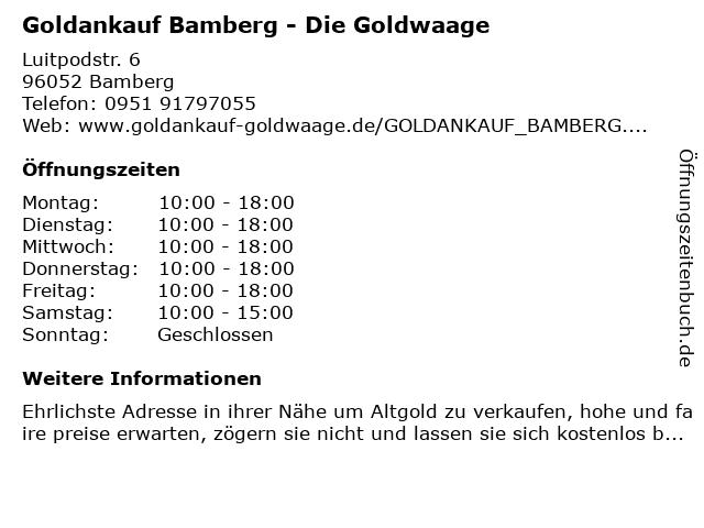 Goldankauf Bamberg - Die Goldwaage in Bamberg: Adresse und Öffnungszeiten