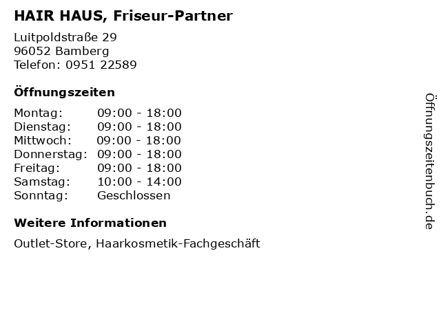 HAIR HAUS, Friseur-Partner in Bamberg: Adresse und Öffnungszeiten
