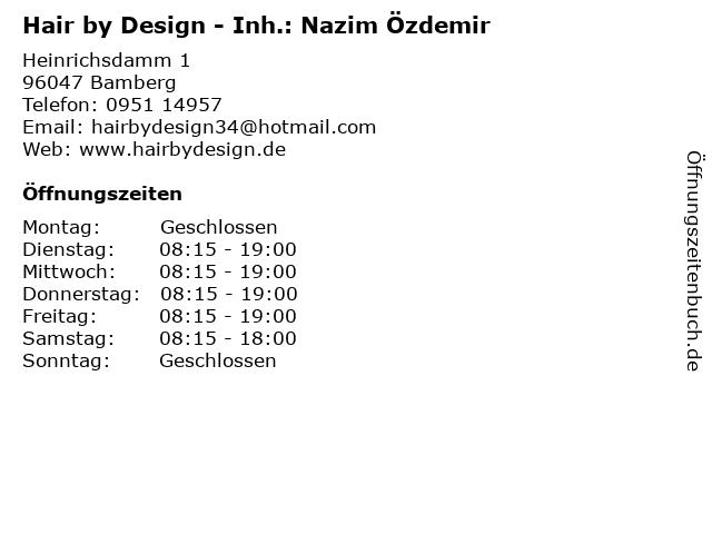 Hair by Design - Inh.: Nazim Özdemir in Bamberg: Adresse und Öffnungszeiten
