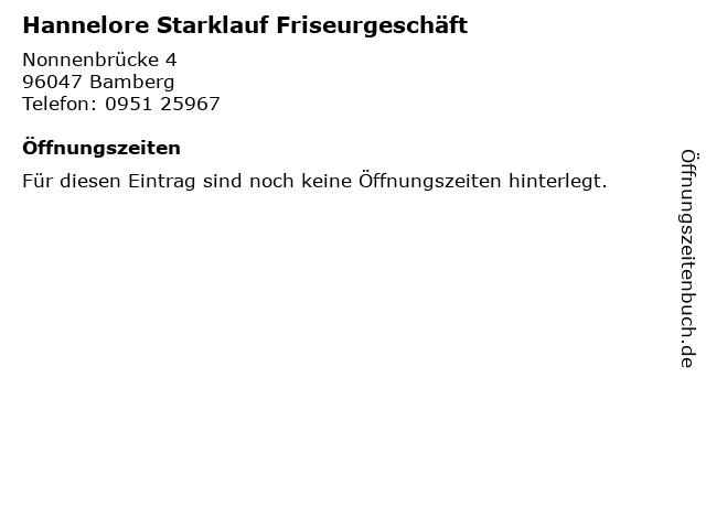 Hannelore Starklauf Friseurgeschäft in Bamberg: Adresse und Öffnungszeiten
