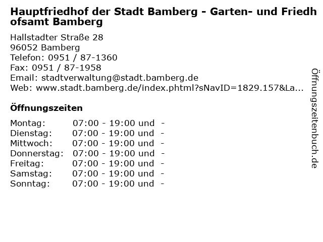 ᐅ öffnungszeiten Hauptfriedhof Der Stadt Bamberg Garten Und