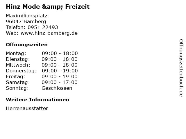 Hinz Mode & Freizeit in Bamberg: Adresse und Öffnungszeiten