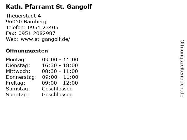 Kath. Pfarramt St. Gangolf in Bamberg: Adresse und Öffnungszeiten