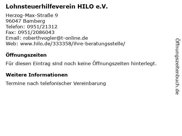 Lohnsteuerhilfeverein HILO e.V. in Bamberg: Adresse und Öffnungszeiten
