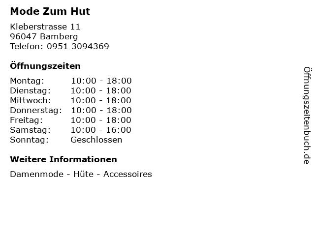 Mode Zum Hut in Bamberg: Adresse und Öffnungszeiten