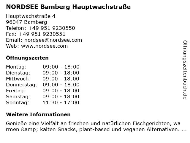 NORDSEE Bamberg Hauptwachstraße in Bamberg: Adresse und Öffnungszeiten