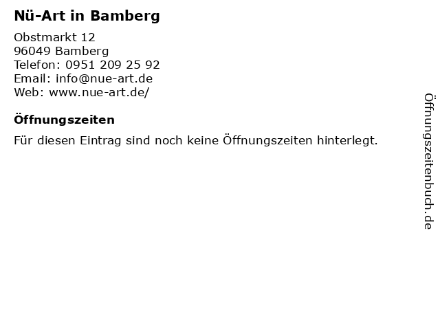 Nü-Art in Bamberg in Bamberg: Adresse und Öffnungszeiten