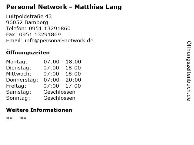 Personal Network - Matthias Lang in Bamberg: Adresse und Öffnungszeiten