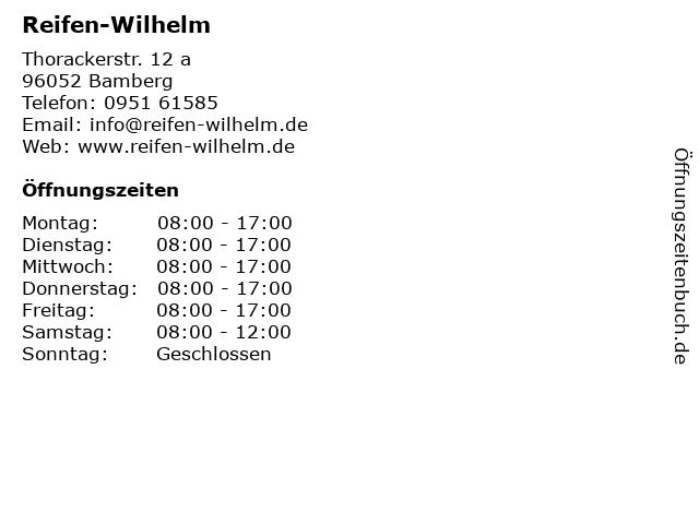 Reifen Wilhelm Inh. Marco Bergmann e.K. in Bamberg: Adresse und Öffnungszeiten