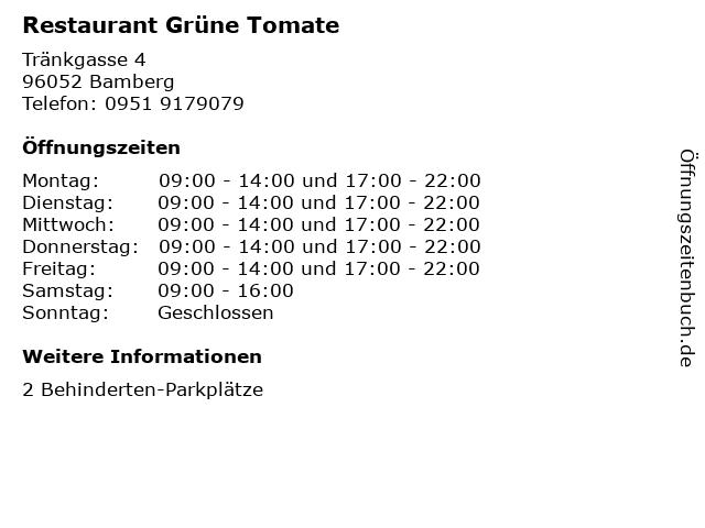 Restaurant Grüne Tomate in Bamberg: Adresse und Öffnungszeiten