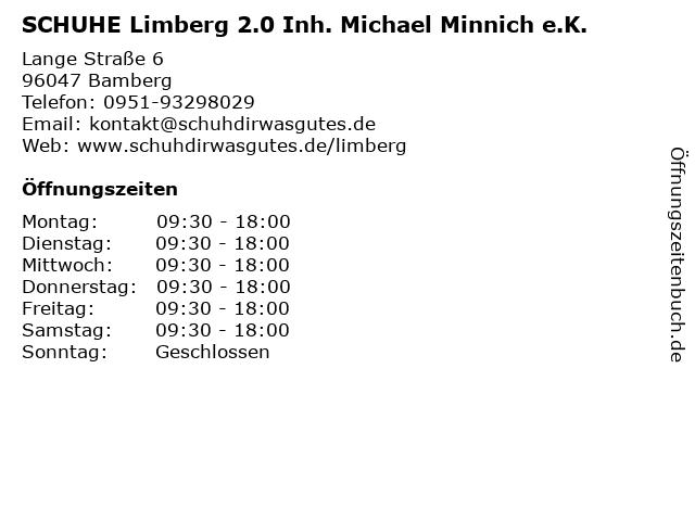 SCHUHE Limberg 2.0 Inh. Michael Minnich e.K. in Bamberg: Adresse und Öffnungszeiten