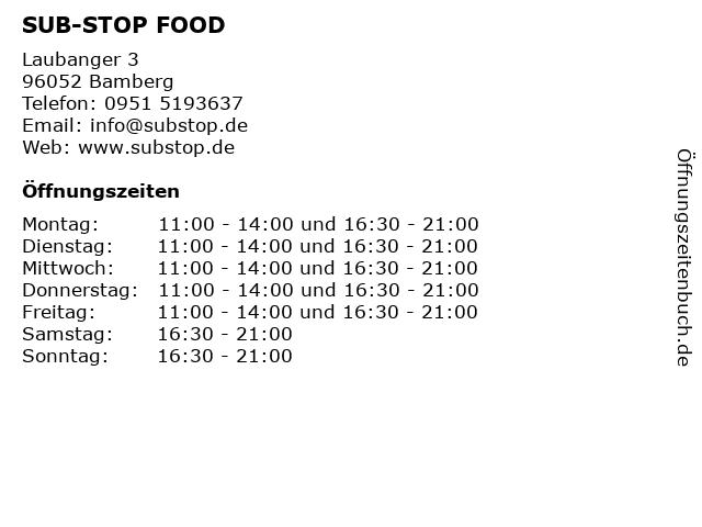 SUB-STOP FOOD in Bamberg: Adresse und Öffnungszeiten