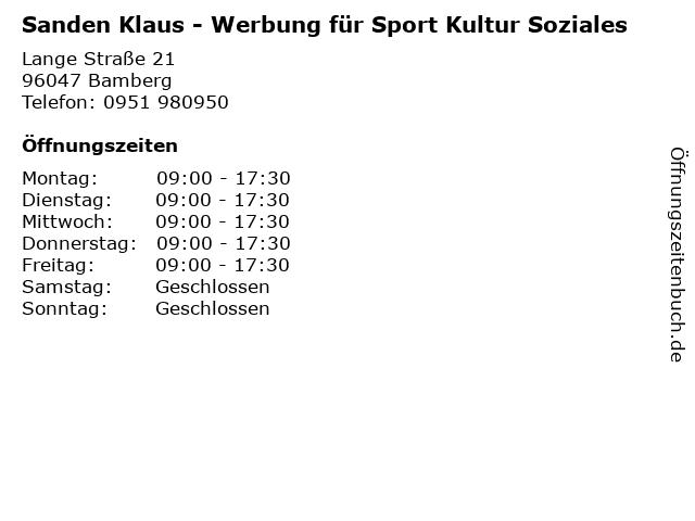 Sanden Klaus - Werbung für Sport Kultur Soziales in Bamberg: Adresse und Öffnungszeiten