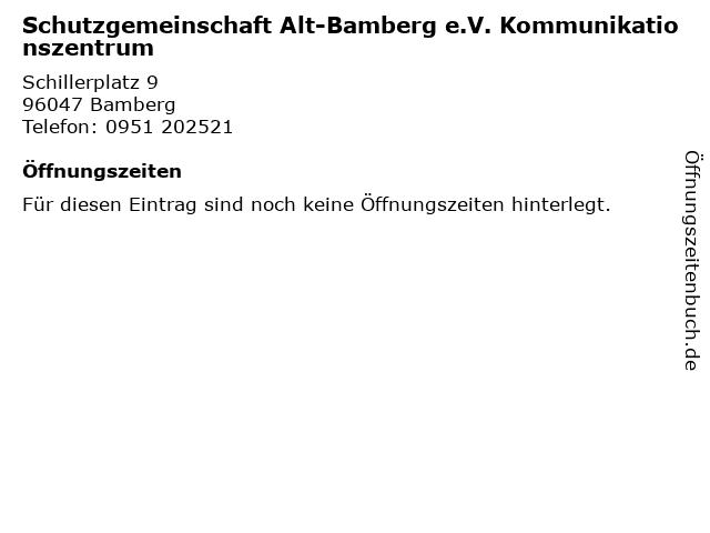 Schutzgemeinschaft Alt-Bamberg e.V. Kommunikationszentrum in Bamberg: Adresse und Öffnungszeiten